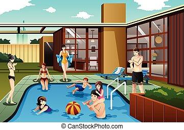 család, költés, idő, udvar, barátok, pocsolya, úszás