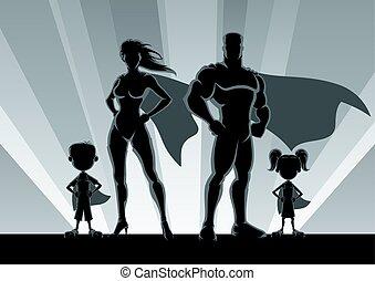 család, körvonal, superhero