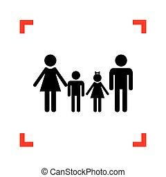 család, kanyarodik, cégtábla., összpontosít, háttér., fekete, fehér, ikon