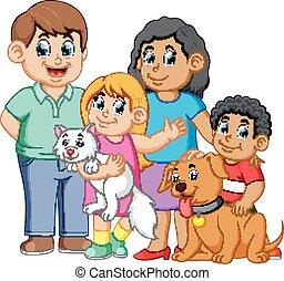 család, kisállat, nagy
