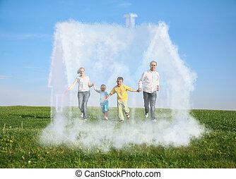 család, kollázs, épület, négy, futás, fű, álmodik, felhő