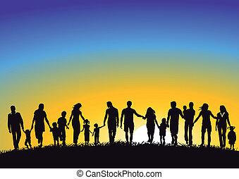 család, napkelte