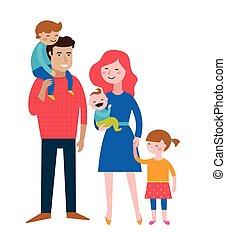 család, párosít, gyártás, boldog, móka, gyerekek