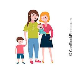 család, párosít, gyártás, buzi, család, boldog, móka, gyerekek