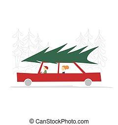 család, tető, piros zöld, autó, fa, karácsony