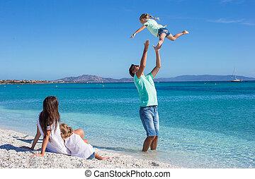 család, tropikus, szórakozik, tengerpart, boldog