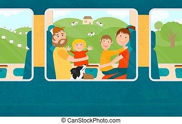 család, utazó, együtt, young gyermekek, train.