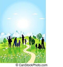 család, zöld kaszáló