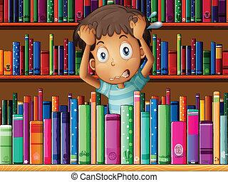 csalódott, fiatal, könyvtár, ember
