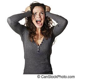 csalódott, mérges woman, visító