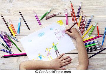 csalogat, gyermek, születésnap, gyermekek, kártya, boldog, felt-tip, rajz, pencils., elkészített, övé, family., színes, megír