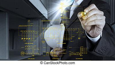 csalogat, tűzjelző, ábra, egyedülálló, sematikus, egyenes, elektronikus, felkelő, konstruál