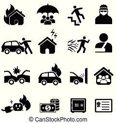 csapás, állhatatos, biztosítás, ikon