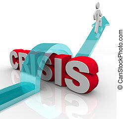 csapás, szükséghelyzet, -, legyőző, terv, krízis