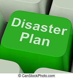 csapás, szükséghelyzet, oltalom, terv, kulcs, krízis, látszik