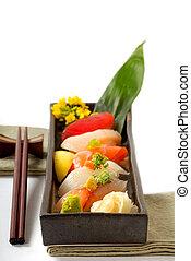 csapás, tányér, sushi, aprófa, japán