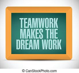 csapatmunka, álmodik, munka, készítmény