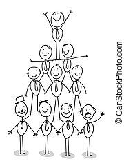 csapatmunka, diagram, szervezet