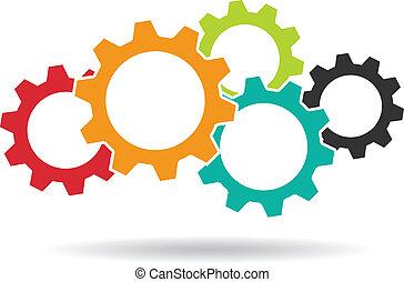 csapatmunka, fogalom, logo., fogaskerék-áttétel