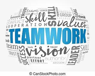 csapatmunka, fogalom, szó, felhő, kollázs, ügy