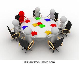 csapatmunka, gyűlés, ügy