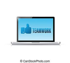 csapatmunka, laptop, tervezés, üzenet, ábra