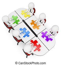 csapatmunka, legjobb, emberek., 3, látszó, oldás, fehér