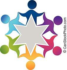 csapatmunka, munkás, emberek, egység, tervezés, jel