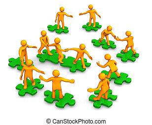 csapatmunka, társaság, zöld, rejtvény, ügy