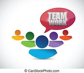 csapatmunka, tervezés, ábra, emberek