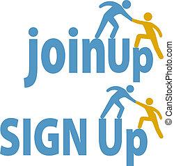 csatlakozik, emberek, feláll, aláír, tag, felszolgál, csoport, ikon
