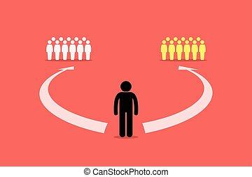 csatlakozik, emberek., két, brigád, eldöntés, között, csoport, vagy, ember