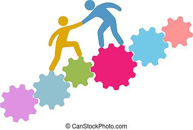 csatlakozik, emberek, technológia, összekapcsol, segítség