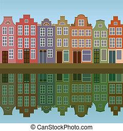 csatorna, épület, amszterdam