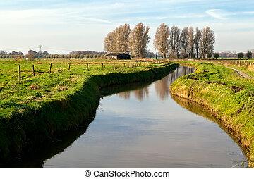 csatorna, tanya, holland, épület