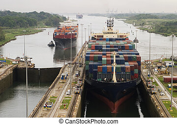 csatorna, teherhajó, panama