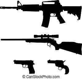 csavar, árnykép, vektor, karabély, mód, karabély, semi-automatic, lelő, ar-15, akció