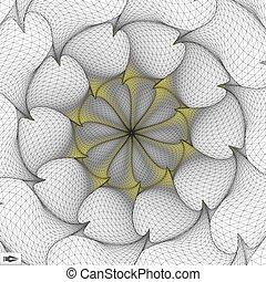 csavarodás, elvont, forgás, mosaic., movement., illustration., 3