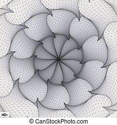 csavarodás, elvont, forgás, mosaic., movement., illustration., art., 3