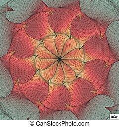csavarodás, elvont, forgás, vektor, mosaic., movement., illustration., art., 3