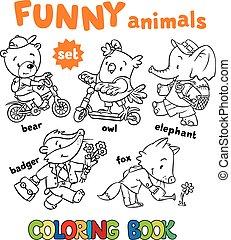 csecsemő állat, állhatatos, színezés, furcsa, könyv