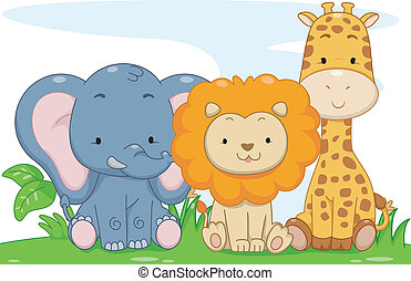 csecsemő állat, szafari