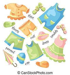 csecsemő, állhatatos, öltözet