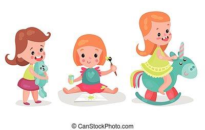 csecsemő, állhatatos, ülés, játék, apró, vektor, lány, emelet, rajz, ábra