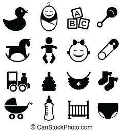 csecsemő, állhatatos, ikon