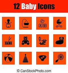 csecsemő, állhatatos, ikonok