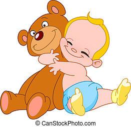 csecsemő, átkarolás, hord