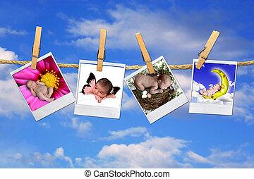 csecsemő, ég, polaroid, háttér, arcképek, csecsemő, függő