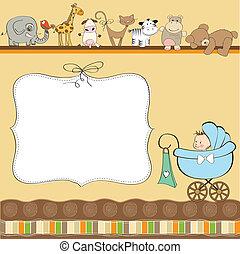 csecsemő, új, fiú, kártya, közlemény