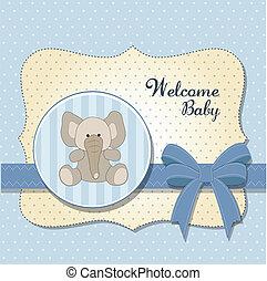 csecsemő, új, kártya, elefánt